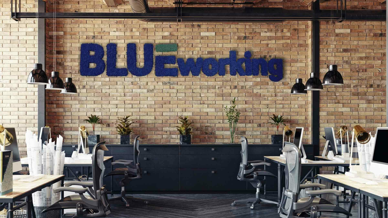 Schriftzug aus blauem Islandmoos Großraumbüro