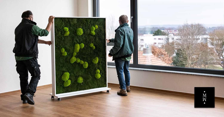 mobiler Raumteiler aus Waldmoos und Ballenmoos
