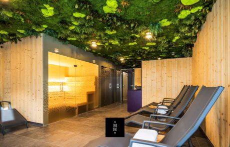 Dschungelmooswand Decke Sauna Laurichshof