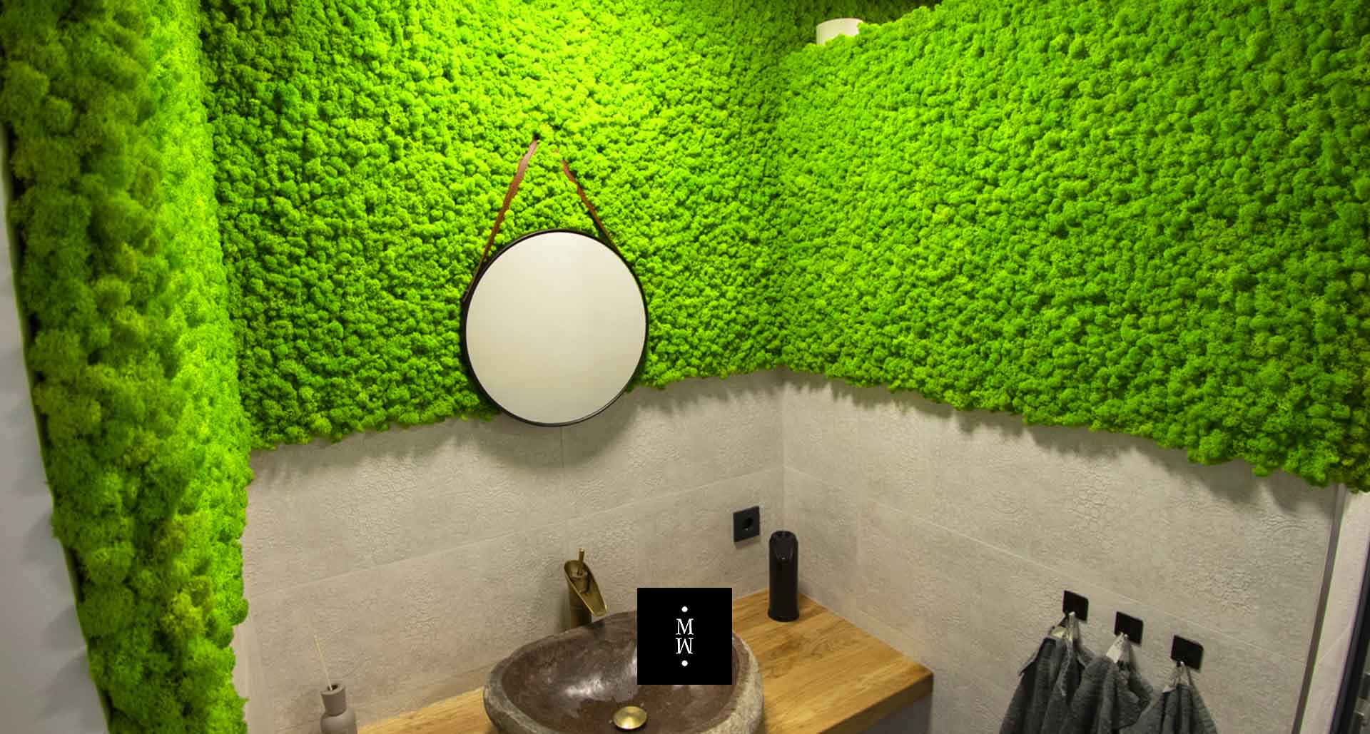 Mooswand aus Islandmoos Badezimmer