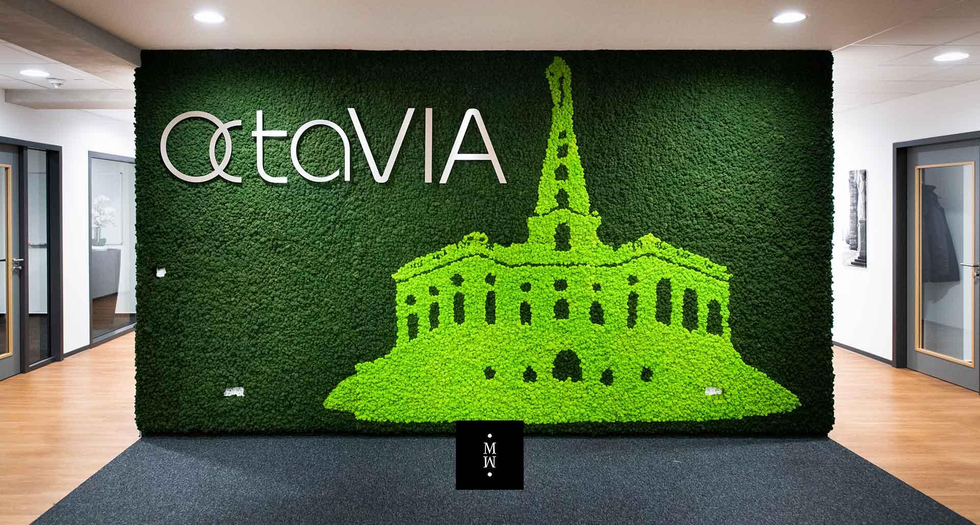Mooswand Islandmoos mit Acrylbuchstaben Octavia