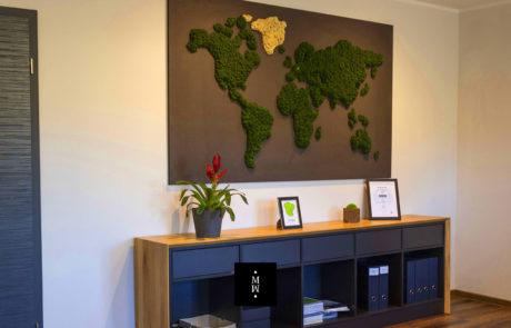 Weltkarte aus Islandmoos auf schwarzer MDF-Platte