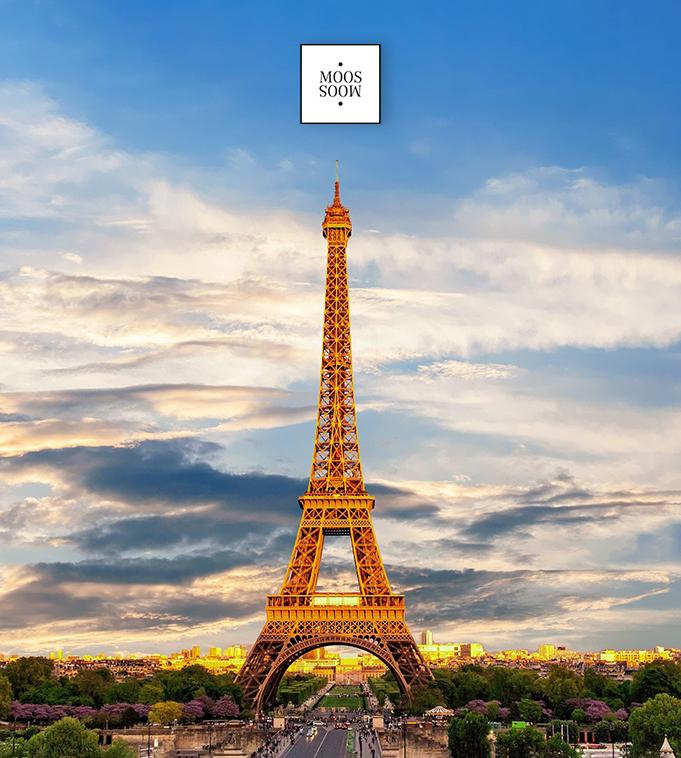 golden leuchtender Eiffelturm Paris mit Mooslogo als Ansichtsbild für Vertriebsjob in Frankreich